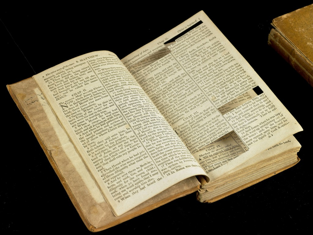 A source Bible from which Thomas Jefferson's private text, The Life and Morals of Jesus of Nazareth—colloquially known as the Jefferson Bible—was culled in part.